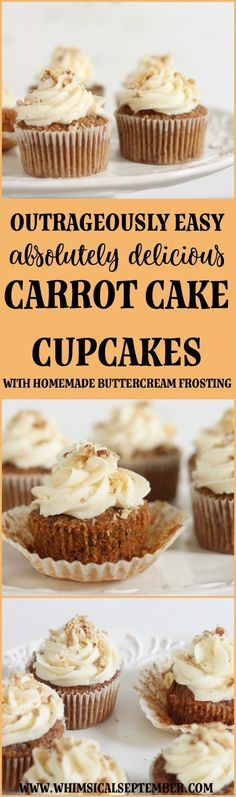 Carrot Cake Cupcakes Recipe with Homemade Buttercream Icing: Plan to double this recipe because your recipients are going to devour these carrot cake cupcakes! They're easy and fast to make and taste better than a bakery. The minced carrots give these cup Healthy Cake Recipes, Pound Cake Recipes, Cupcake Recipes, Pound Cakes, Carrot Cake Cupcakes, Cupcake Cakes, Homemade Buttercream Icing, Classic Cake, Cream Cake