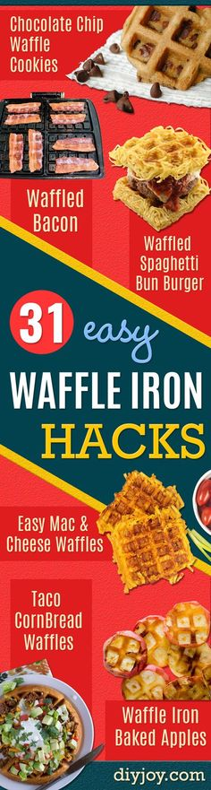 Wow. Call me impressed. Apparently, waffle irons were not created for making just waffles at all. You can use your waffle iron to make some the most interesting and deliciously easy recipes ever. Spaghetti on a waffle bun? You bet. From french fries and mashed potatoes to cookies and yummy dessert m