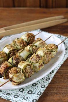 spiedini con zucchine e salsiccia