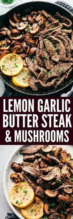 Kids Meals Lemon Garlic Butter Flank Steak with Mushrooms is an incredible and easy meal that is infused with such amazing lemon garlic butter flavor! It is cooked in a skillet to tender perfection and a meal that everyone will love! Beef Dishes, Food Dishes, Main Dishes, Meat Recipes, Cooking Recipes, Healthy Recipes, Recipies, Easy Steak Recipes, Cooking Pasta