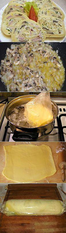 Сырный рулет с грибами и курицей