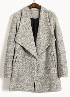 light grey big lapel long-sleeve pockets coat / she inside