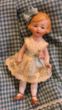 """3.25 """" Vintage all bisque German Flapper doll house doll Bow loop ,Marked"""
