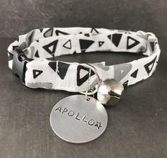 Black and White Cat Collar - Unique Cat Collar - Modern Cat Collar - Male Cat collar - Small Dog Collar - Triangle Print Cat Collar - ID tag