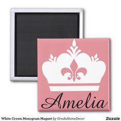 White Crown Monogram Magnet