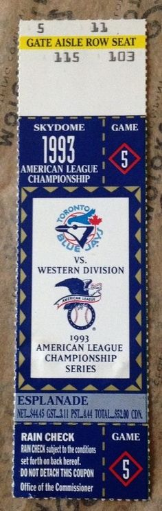 1993 ALCS Game 5 TORONTO BLUE JAYS Ticket Stub vs CHICAGO White Sox 93 AL Champs