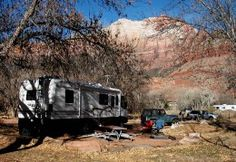 RVing Boondocking Etiquette. Know the unwritten rules of boondocking. Photo shown is camping in Zion National Park.