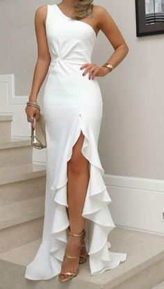 White One Shoulder Prom Dress, Split Pleat Satin Mermaid Prom Dresses, Wedding Party Dresses, Evening Party Gowns, 380 · Loveprom · Online Store Powered by Storenvy Evening Party Gowns, Evening Dresses, Elegant Evening Gowns, Mermaid Prom Dresses, Bridesmaid Dresses, Dress Prom, Bodycon Dress, Maxi Dresses, Slit Prom Dresses