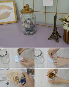 Pote organizador feito com pote de conserva reciclado! Decoração com materiais reciclados!