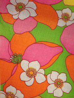 Mod ~ vintage green, orange, and pink floral fabric
