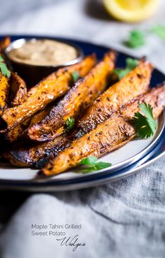 Maple Tahini Grilled Sweet Potatoes from @FoodFaithFit