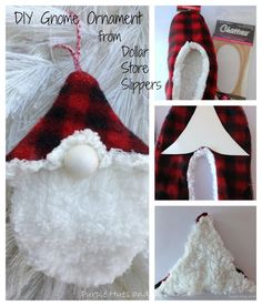 Dollar Store Slippers Gnome Ornament Crafting, diy projects and de. Dollar Store Slippers Gnome Ornament Crafting, diy projects and decorating Easy Christmas Ornaments, Gnome Ornaments, Christmas Gnome, Homemade Christmas, Christmas Holiday, Christmas Decor, Dollar Tree Crafts, Dollar Tree Elves, Holiday Crafts