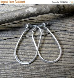 20% OFF 4th Of July Sale Sterling Silver Oblong Hoops ..