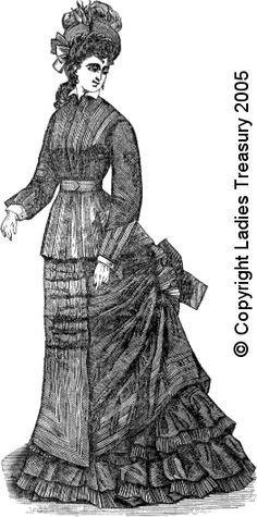 Free Pattern:  Lady's Costume or Dress in Chintz, December 1876
