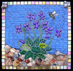 Stained glass mosaic  Purple Violets by FireflyFusions on Etsy, $375.00