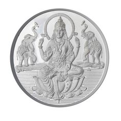 JPearls 20 Grams Laxmi Silver Coin, Lord Lakshmi Devi Silver Coins, Devotional Coins