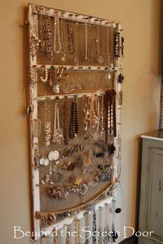 Cafe Curtain and Jewelry Display for Master Closet - Sonya Hamilton Designs Beyond the Screen Door Jewelry Screen. I think I will have to copy the idea, but do it my style!