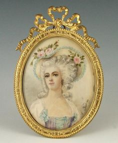 Antique French Miniature Portrait Of Madame Dugazon Hand Painted On Ivory And Mounted In A Gilt Bronze Frame  c.19th Century