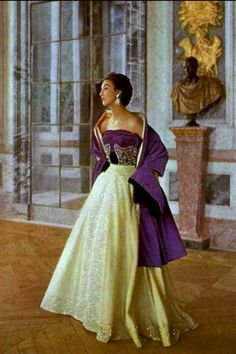 1952 Teresita Montez in gorgeous evening gown, the velvet bodice is embroidered with rhinestones, the skirt is pale Aleutian gauze worn with long reversible stole by Lanvin-Castillo