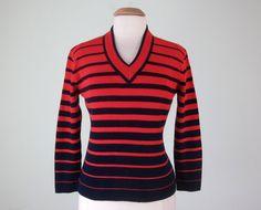 años 60 suéter / azul marino y rojo a rayas por SallyJaneVintage