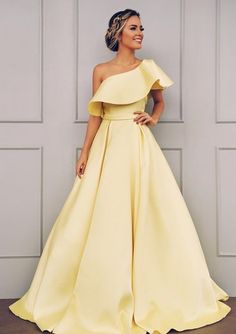 A Line One Shoulder Satin Yellow Simple Prom Dress With Ruched Prom Dresses, Yellow Prom Dress, Prom Dress A-Line, Prom Dress Simple Prom Dresses 2020 Gorgeous Prom Dresses, Simple Prom Dress, Prom Party Dresses, Simple Dresses, Elegant Dresses, Pretty Dresses, Wedding Dresses, Prom Gowns, Bridesmaid Dresses