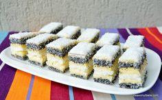 Prăjitură de casă cu mac și cremă de vanilie - rețeta cu blaturi din albușuri   Savori Urbane Food Cakes, Sweet Desserts, Cake Recipes, Cheesecake, Deserts, Food And Drink, Ice Cream, Sweets, Healthy Recipes