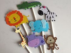 Set Of 12 Safari/ Jungle Animal Cupcake Toppers Gret for Baby Showers OR Birthday Parties, zoo animals, elephant, monkey, zebra, lion, hippo. $10.00, via Etsy.