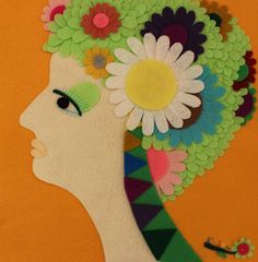 Handmade Felt Side Profile Woman Portrait Daisy Flowers Wall Hanging Felt Art