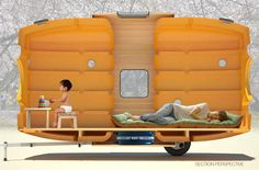 The Taku-Tanku is a tiny house you can pull with a bicycle, made from two plastic water tanks. Taku-Tanku is a traveling little house. Portable Tiny Houses, Portable House, Portable Shelter, Airstream, Pontoon Boats For Sale, Micro House, Tank Design, Floating House, Tiny House Movement