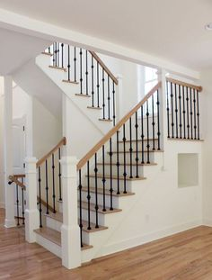 Extravagant Farmhouse Staircase Pictures For Your Residence Decor: 80 Modern Farmhouse Staircase Decor Ideas Wrought Iron Stair Railing, Stair Railing Design, Staircase Railings, Banisters, Staircase Ideas, Iron Spindle Staircase, Staircase Pictures, Iron Balusters, Railing Ideas