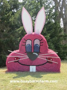 Busy Barns Farm Pink Rabbit Round Bale Art