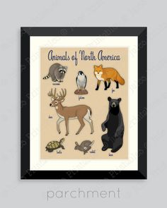 Animals of North America Art Print North by JulesPrintables, $14.00