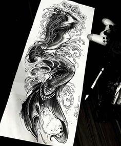 Tattoo Old School Family - Mandala Tattoo Ideas - - Tattoo Antebrazo Ideas - Hip Tattoos Women, Tattoos For Women Half Sleeve, Leg Tattoos, Body Art Tattoos, Tattoos For Guys, Octopus Tattoos, Tattoos Pics, Mermaid Sleeve Tattoos, Mermaid Tattoo Designs