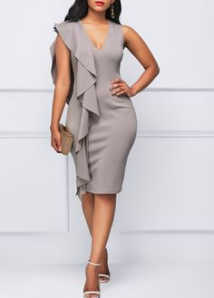 Sleeveless V Neck Flouncing Grey Dress | Rosewe.com - USD $33.53