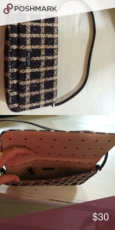 Kate Spade clutch Excellent used condition.  Wool Kate spade clutch.  Dimensions: 10.5 inches long, 5 inches high, 1.5 inches deep kate spade Bags Clutches & Wristlets