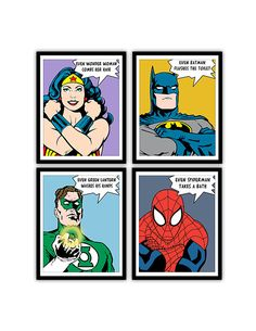 This item is unavailable - Womens Batman - Ideas of Womens Batman - SET OF FOUR ART PRINTS Professionally printed on heavyweight Epsons Ultra Premium Photo Paper Luster with a small white additional Batman Bathroom, Mickey Bathroom, Superhero Bathroom, Superhero Room, Bathroom Kids, Kids Bath, Bathroom Prints, Bathrooms, Wonder Woman