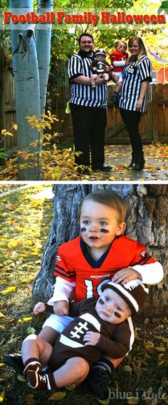 A football family Halloween costume with easy DIY details - including DIY toddler football pads and template for a football onesie