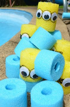 Use pool noodles to make Minion blocks! Fun craft to go with the movie!