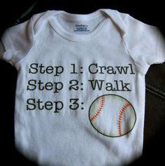 sports onesie step 1 crawl step 2 walk step 3 baseball