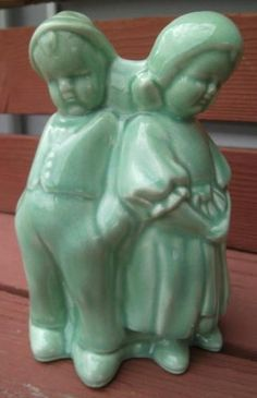Vintage Brush McCoy Pottery Planter Green Boy Girl by Tree Country 7 Statue | eBay