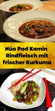 Nüa Pad Kamin - Rindfleisch mit frischer Kurkuma - Ein Rezept aus Süd-Thailand, kann statt mit Rindfleisch auch mit Huhn, Fisch oder Meeresfrüchten zubereitet werden. Thailand, Beef, Food, Beef Rib Steak, Browning, Turmeric, Fresh, Meat, Essen