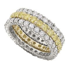 Juicy Canary Yellow And Colorless Stackable Diamond Rings From Lieberfarb