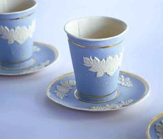 disposable paper cup designed to look like classic Wedgewood by Rebecca Wilson