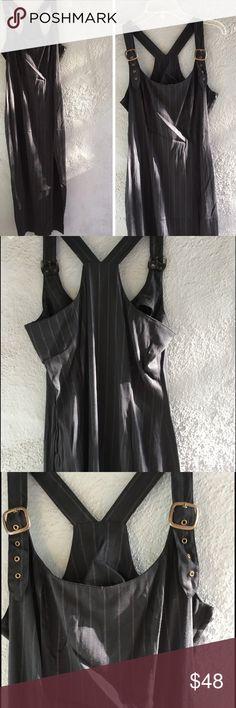 Selling this Vintage JUDYS Black Overall Pin Stripe Dress on Poshmark! My username is: goensshopping. #shopmycloset #poshmark #fashion #shopping #style #forsale #Vintage #Dresses & Skirts