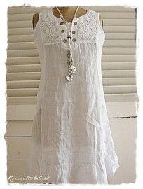 Witte linnen tuniek met kanten voorpand