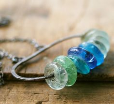 Hand forged oxidized sterling silver organic by jennreeseSEVEN, $48.00 #beach colored glass #handmade #jewelry #sterling silver #necklace #organic #gift