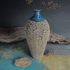 Wheel thrown Textured Oval Ceramic Bottle / Vase by Marietta Theodorou-LeMieux | BlueRoomPottery... plus (+)
