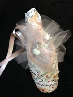 Decorative Pointe Shoes Nutcracker Swan Lake and Ballet Pink Cecoupaged with Sheet Music and Embellishments