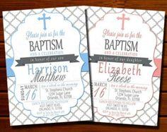 Boy or Girl Baptism Invitation - Pink, Blue, Gray, Christening, First Communion, Printable, Digital
