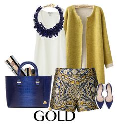 """""""gold and blue"""" by claire86-c ❤ liked on Polyvore featuring Chicnova Fashion, Nieves Lavi, Topshop, Chanel, NARS Cosmetics, Bobbi Brown Cosmetics, Victoria Beckham, Alice + Olivia, Nest and Argento Vivo"""